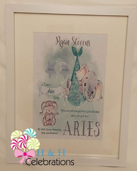 Aries New Baby Star Sign Print